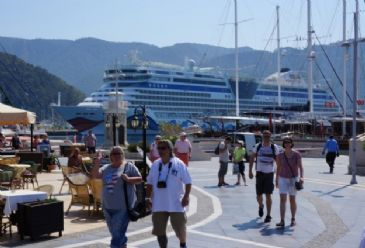 "Cruise ship ""Aida Diva"", bearing the Italian flag, stopped by popular Turkish tourist resort Marmaris with close to 2,000 passengers onboard"
