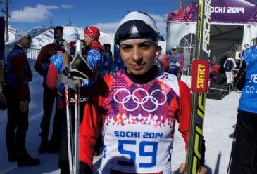 Turkish female athlete Kelime Cetinkaya comes in the last in Ladies' Skiathlon.