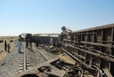 3 children among the dead as remote-control explosion derails train in southern Sindh province.