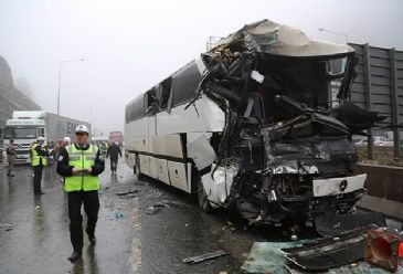 Three people die and 32 are injured as 7 vehicles collide in slick conditions on Turkey's Bolu Mountain pass.