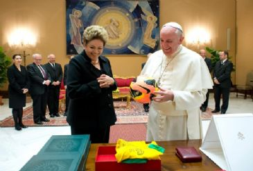 The Brazilian president gave the Pope a shirt signed by Pelé and a football signed by retired Brazilian forward and World Cup official Ronaldo. It was expected she would also invite the pontiff formally to this year's World Cup, being held in Brazil in June and July.