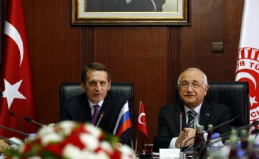 Sergey Naryshkin, Chairman of the Russian State Duma meets Turkish Parliament Speaker Cemil Cicek during his visit in Ankara, Turkey on February 27, 2014.