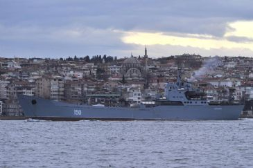 Two Russian warships cross the Bosphorus en route to a Black Sea fleet, while one Ukrainian ship is also reported to be entering the Marmara sea through the Dardanelles