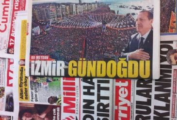 Dailies covered PM Erdogan's meetings in Manisa and Izmir, watched by tens of thousands