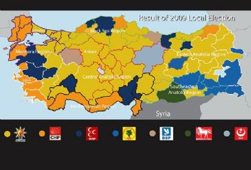 The 2009 Election Results: How much will this map change in the upcoming elections? Around 53 million people will vote in local elections at 194,310 ballot boxes around Turkey on Sunday.