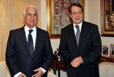 TRNC President Dervis Eroglu meets Greek Cypriot leader Nicos Anastasiades in the UN buffer zone at the island