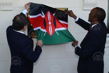 Kenyan President Uhuru Kenyatta and Turkish Foreign Minister Ahmet Davutoglu attends opening ceremony
