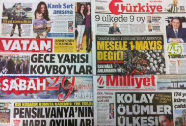 Dailies on Tuesday covered the gun-fight in a night club where a famous Turkish footballer got shot; the government's determination to restrict May Day protests in Taksim Square along with worker unions' insistence on going; the annulment of local elections in the western city of Yalova after a reco