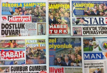 Today's dailies mainly cover soccer club Fenerbahce's championship, Turkey's step to build a portable wall on Syrian border and Neo-Nazi rally in Germany