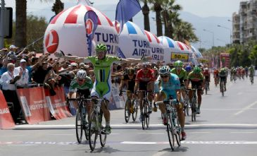Cannondale team's Italian cyclist, Elia Viviani, is victorious in the seventh stage of Tour of Turkey