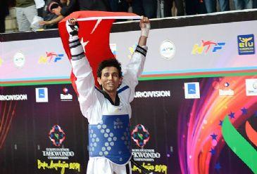 Turkey's Olympic champion Servet Tazegul wins gold in the 2014 European Taekwondo Championship
