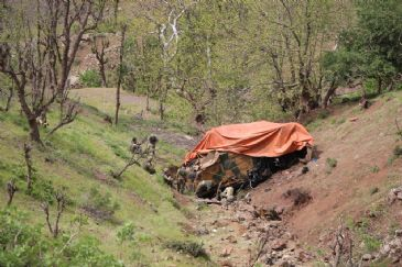 Three soldiers were killed and eight injured in a road accident in the Turkish province of Hakkari on Monday