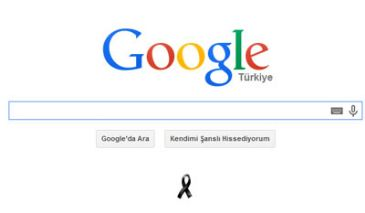 Turkish version of search engine displays black ribbon in memory of Turkish mining disaster