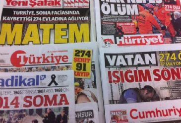 Thursday's newspapers have focused on the grief caused by Tuesday's mine explosion, Turkish Prime Minister Erdogan's statements over the incident and reflections on the disaster from overseas.