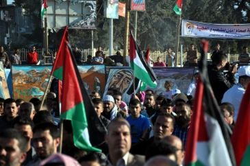 Thousands of Palestinians on Thursday marked the passing of 66 years since the
