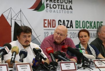 Freedom Flotilla Coalition declare intention to sail a fleet of ships to bring humanitarian aid to Gaza in 2014.
