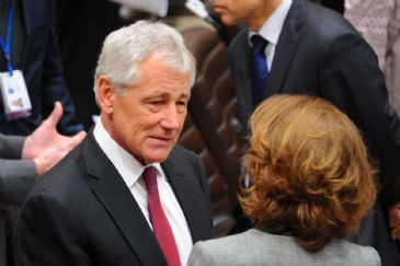 U.S. Defense Secretary Chuck Hagel, who had arrived in the oil-rich Gulf country one day earlier