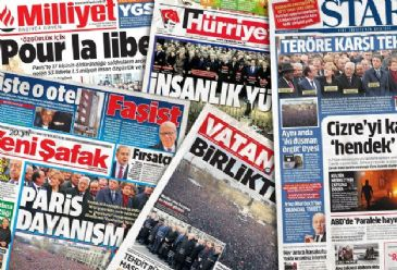 Turkish dailies on Monday focused on unity march in Paris